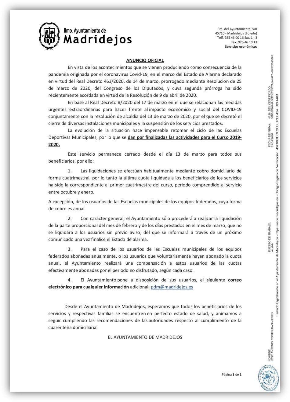 fin escuelas deportivas curso 2019/2020