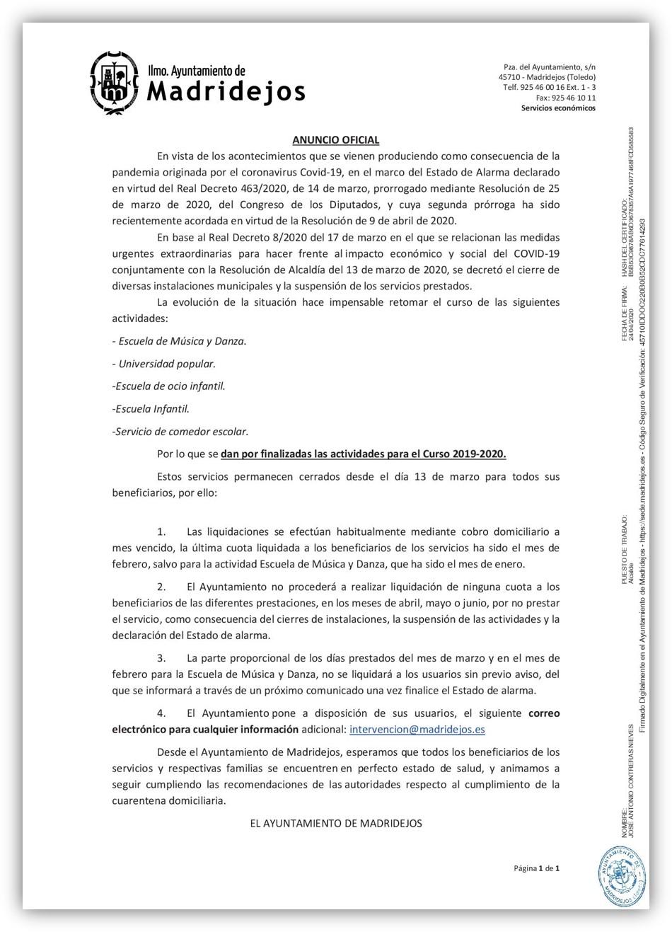 fin actividades municipales curso 2019/2020