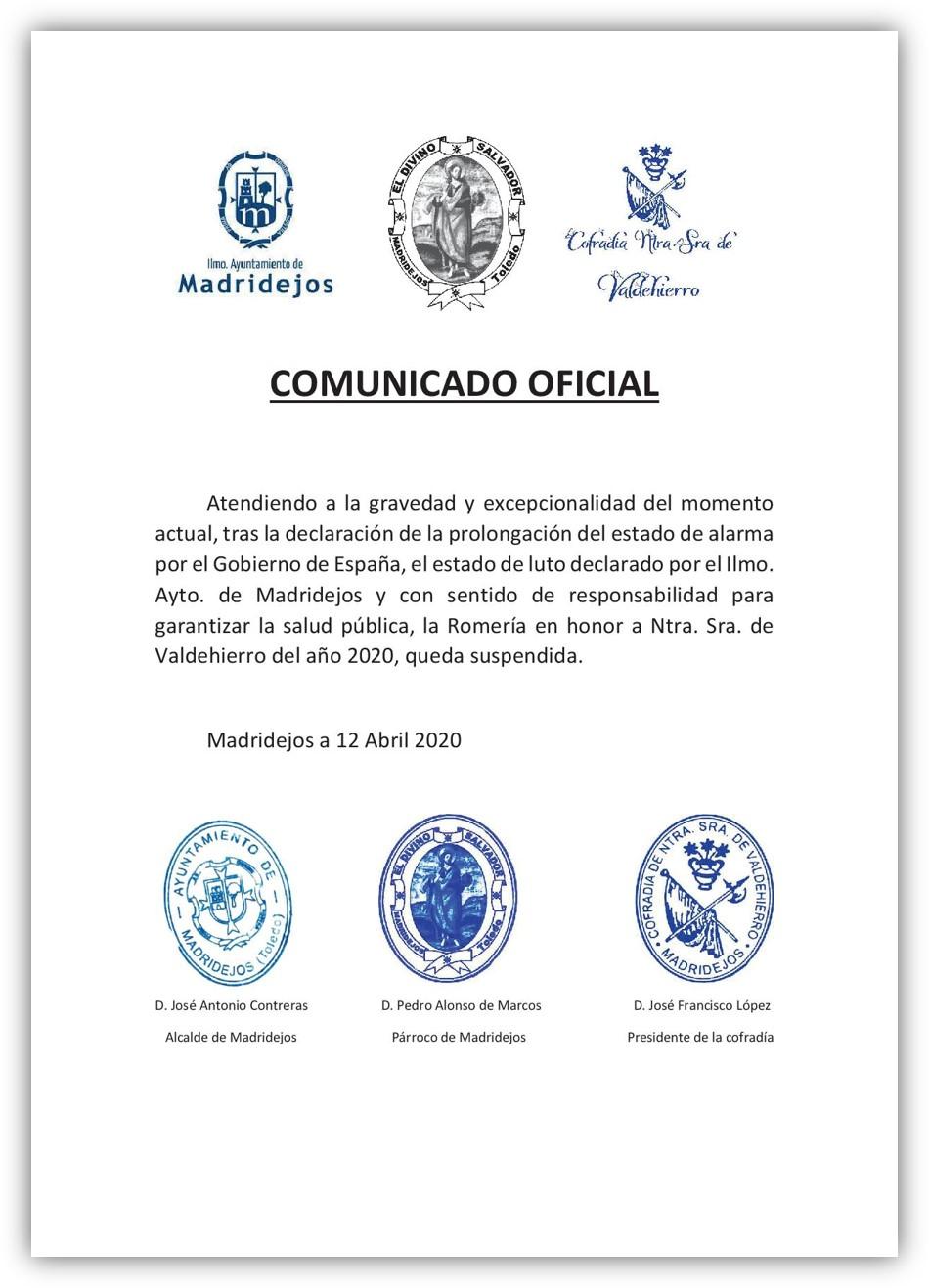 suspension romeria ntra. sra. valdehierro madridejos