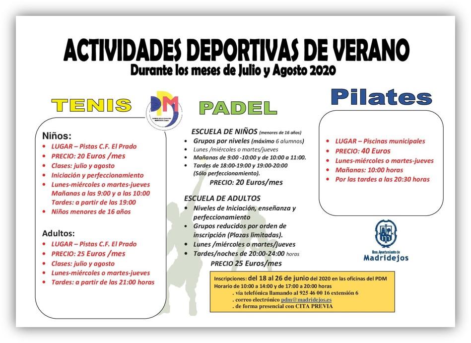 actividades deportivas verano 2020 madridejos
