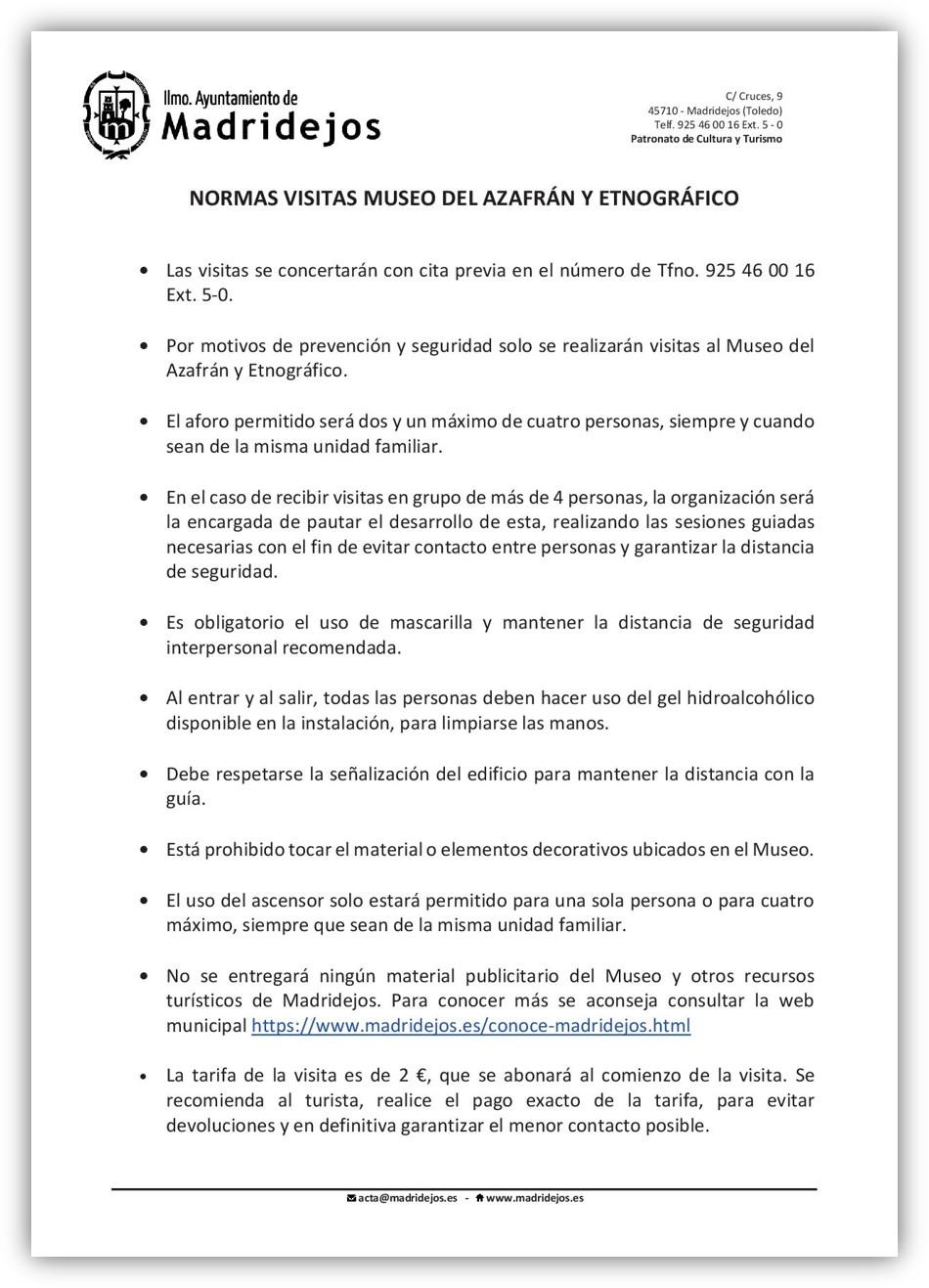 normas visitas museo azafran y etnografico madridejos