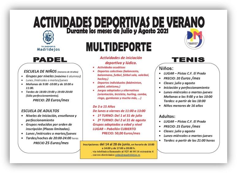 actividades deportivas madridejos verano 2021