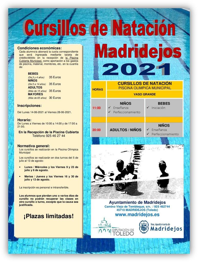 cursillos natacion madridejos verano 2021